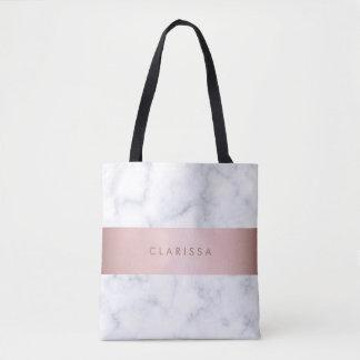 Bolsa Tote tira cor-de-rosa do falso do ouro do mármore