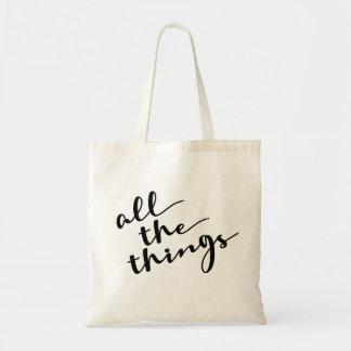 Bolsa Tote Todas as coisas, roteiro moderno