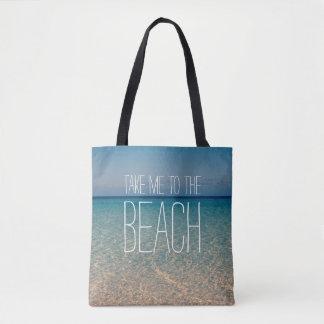 Bolsa Tote Tome-me à areia do oceano do céu azul da água do