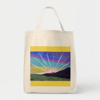 Bolsa Tote Totebag brilhante do nascer do sol do starburst