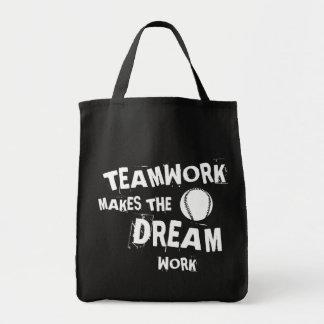 Bolsa Tote Trabalhos em equipe do basebol