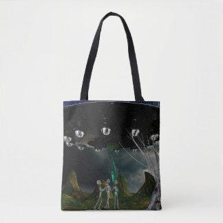 Bolsa Tote Três aliens e uma sacola do UFO