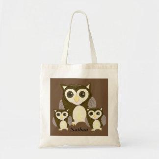 Bolsa Tote Três corujas de Brown personalizadas
