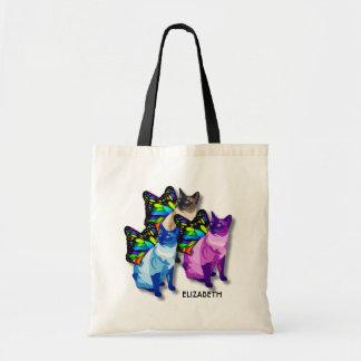 Bolsa Tote Três gatos psicadélicos com asas da borboleta