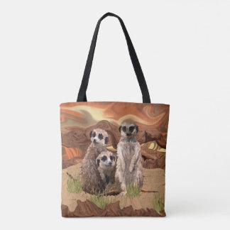 Bolsa Tote Três Meerly Meerkats