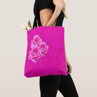 Bolsa Tote Três rosas cor-de-rosa no rosa,