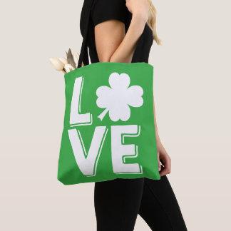 Bolsa Tote Trevo verde bonito do dia de St Patrick do amor