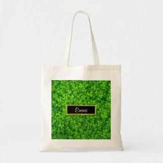 Bolsa Tote Trevos verdes com quadro da folha de ouro do FALSO