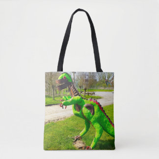 Bolsa Tote trex do dinossauro do metal na foto do parque