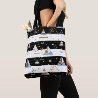 Bolsa Tote Triângulos coloridos & listras pretas & brancas