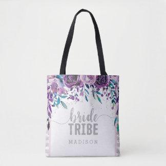 Bolsa Tote Tribo floral & de prata roxo da noiva dos confetes