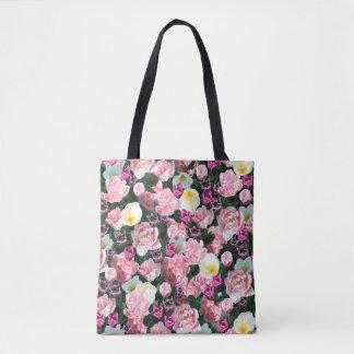 Bolsa Tote Tudo está vindo acima das tulipas