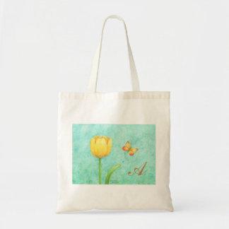 Bolsa Tote Tulipa e borboleta feitas sob encomenda do amarelo