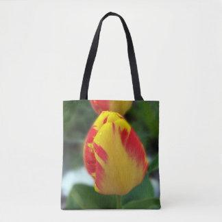 Bolsa Tote tulipas vermelhas amarelas