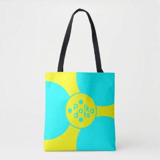 Bolsa Tote Turquesa & meio amarelo toda sobre - imprima a