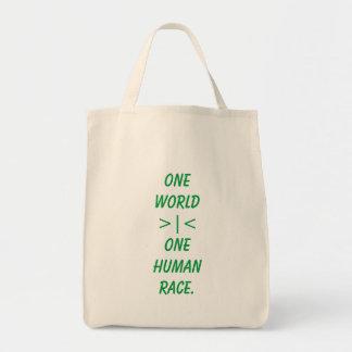 Bolsa Tote Um mundo, uma sacola da raça humana