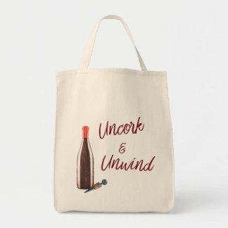 Bolsa Tote Uncork & desenrole a sacola dos amantes de vinho