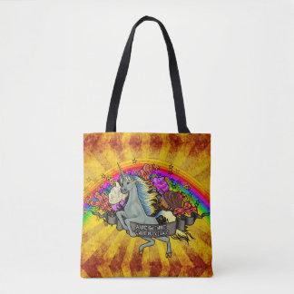 Bolsa Tote Unicórnio, arco-íris & bacon impressionantes da