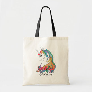 Bolsa Tote Unicórnio bonito do arco-íris da aguarela