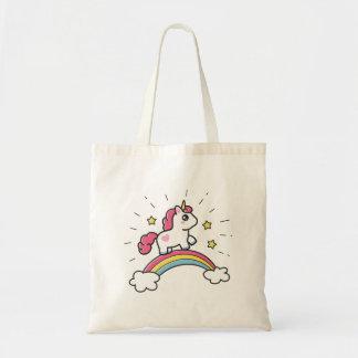 Bolsa Tote Unicórnio bonito em um design do arco-íris