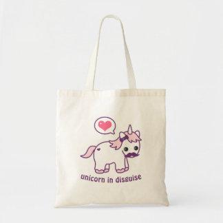 Bolsa Tote Unicórnio cor-de-rosa bonito do bigode