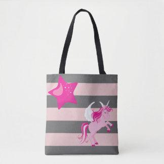 Bolsa Tote Unicórnio cor-de-rosa bonito e estrela cor-de-rosa
