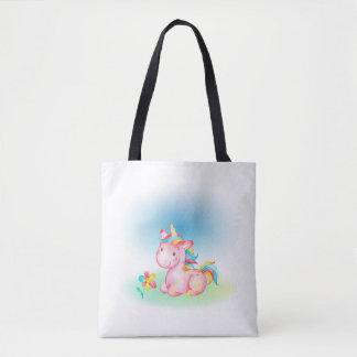 Bolsa Tote Unicórnio cor-de-rosa com uma flor cor-de-rosa