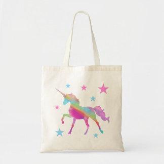 Bolsa Tote Unicórnio do arco-íris e sacola das estrelas