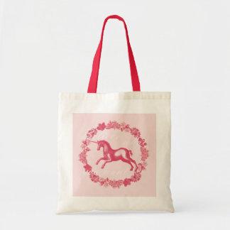 Bolsa Tote Unicórnio e flores cor-de-rosa