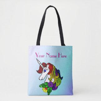 Bolsa Tote Unicórnio feito sob encomenda do arco-íris da