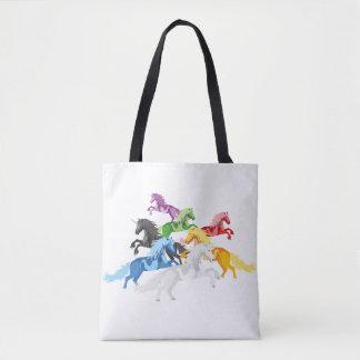 Bolsa Tote Unicórnios selvagens coloridos da ilustração
