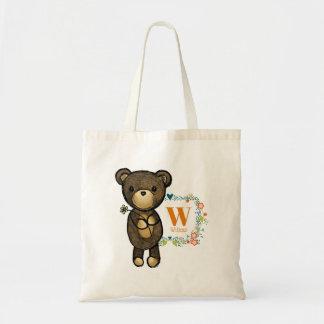 Bolsa Tote Urso bonito, flor amarela & costume floral da