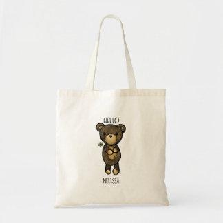 Bolsa Tote Urso de Brown bonito que guardara uma flor amarela
