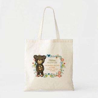 Bolsa Tote Urso de ursinho com nascimento decorativo do bebê