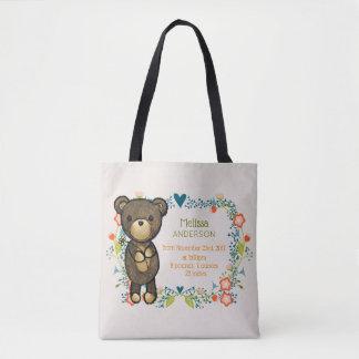 Bolsa Tote Urso de ursinho com nascimento do bebê dos designs