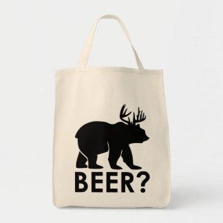 Bolsa Tote Urso engraçado com chifres = cerveja?