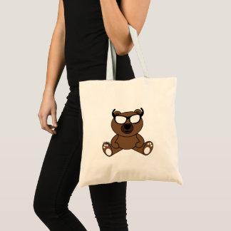 Bolsa Tote Urso marrom legal customizável com óculos de sol