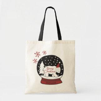 Bolsa Tote Urso polar do chapéu do papai noel do Natal de