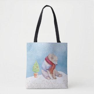 Bolsa Tote Urso polar e árvore de Natal na neve