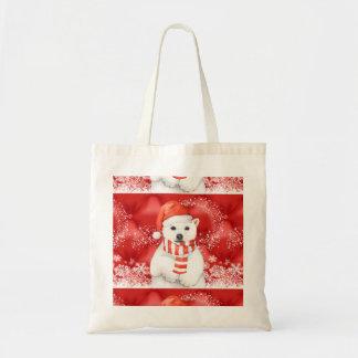 Bolsa Tote urso polar em um boné do papai noel - branco de w