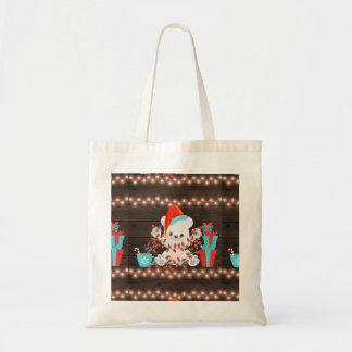 Bolsa Tote Urso polar pequeno bonito com luzes de Natal