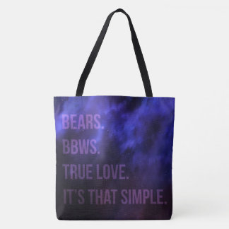 Bolsa Tote Ursos. BBWs. Amor verdadeiro. É aquele simples.