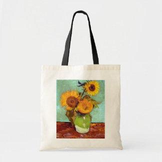 Bolsa Tote Van Gogh - três girassóis em um vaso - belas artes