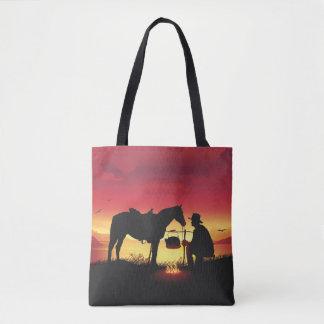 Bolsa Tote Vaqueiro e cavalo no por do sol toda sobre -