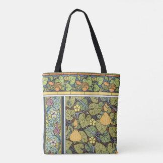 Bolsa Tote Vegetais florais de Nouveau da arte do vintage,