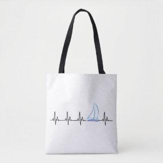 Bolsa Tote Veleiro engraçado da pulsação do coração da