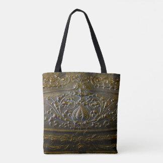 Bolsa Tote velhos florais elegantes da decoração do metal do
