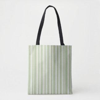 Bolsa Tote Verde azeitona na moda e branco Pinstriped