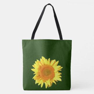 Bolsa Tote Verde de caçador escuro do girassol amarelo