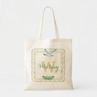 Bolsa Tote Verde do monograma da aguarela e tipografia do